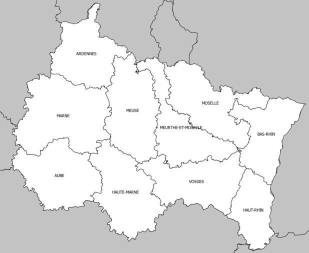 Carte des départements de la région Grand Est