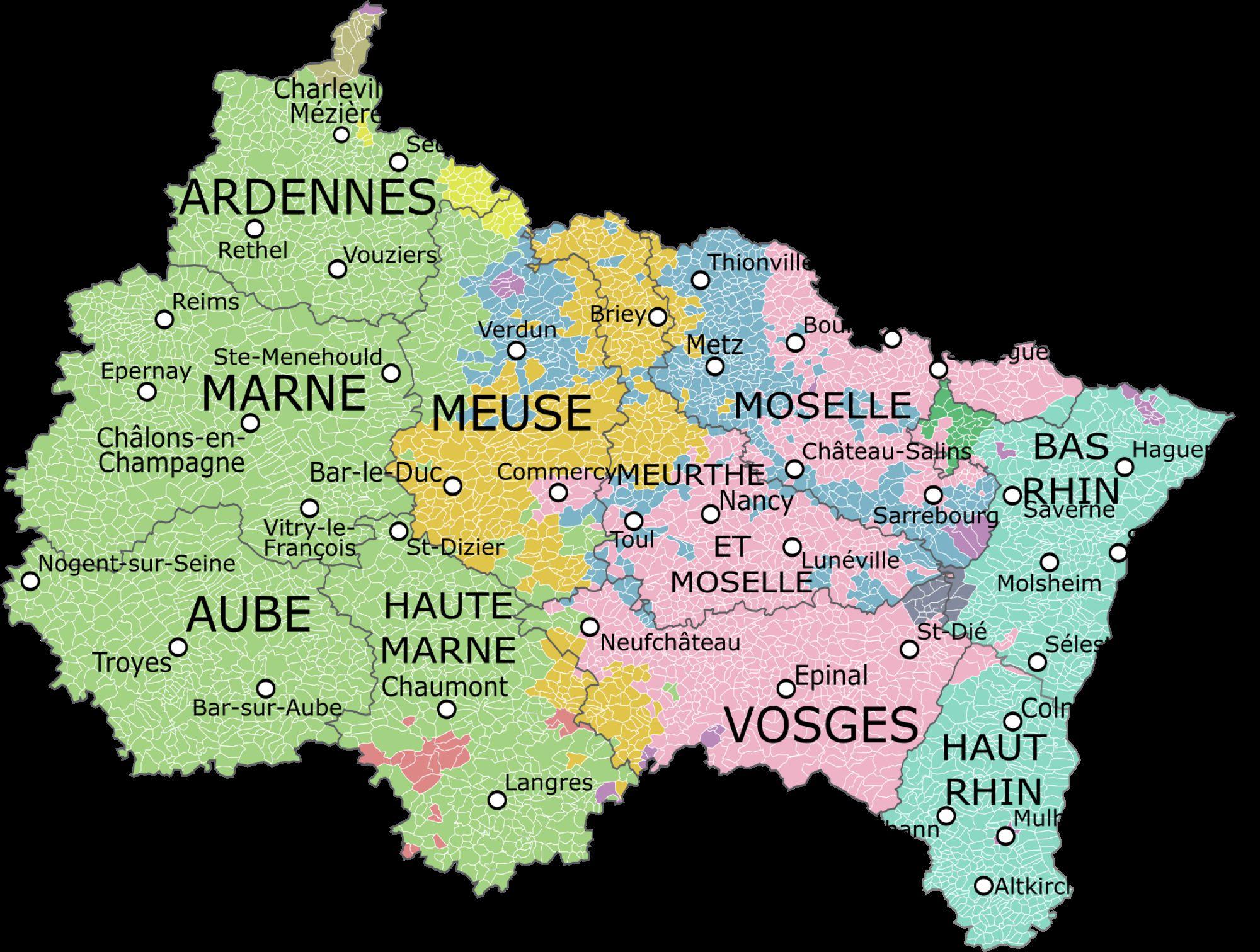carte du grand est - Image