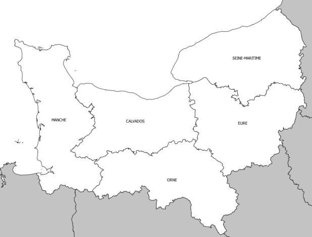 Carte des départements de la région Normandie