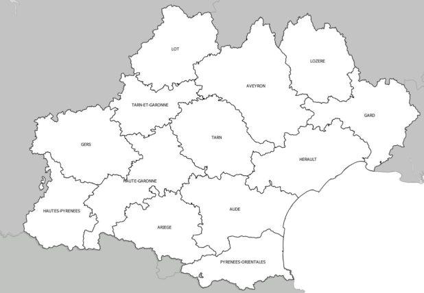 Carte des départements de l'Occitanie