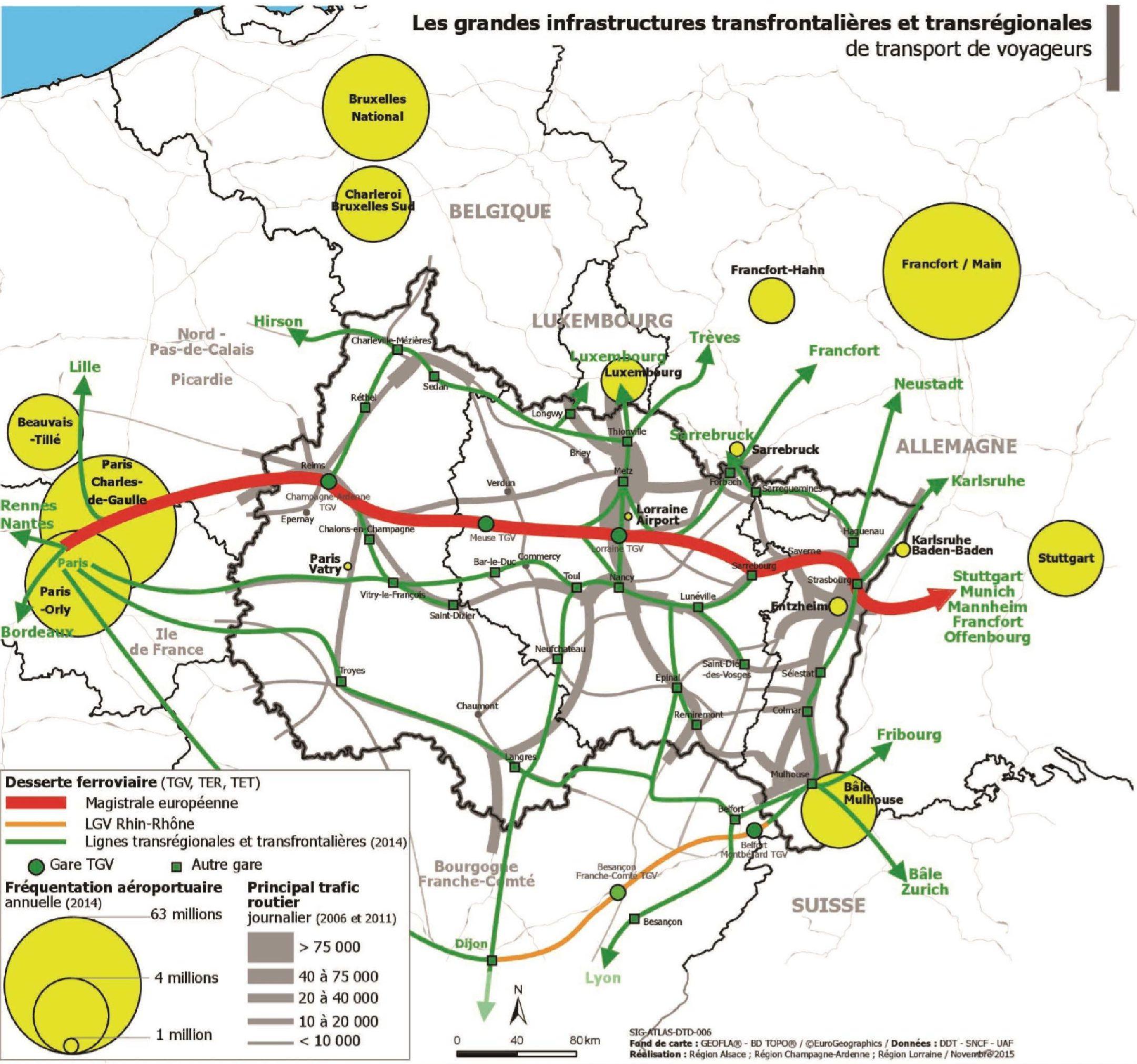 Carte des axes de transports du Grand Est