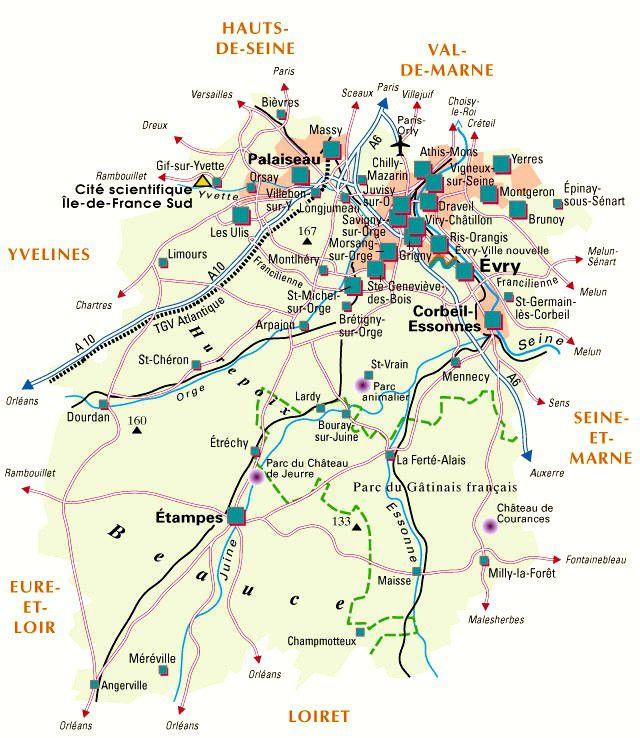 Carte de l 39 essonne essonne carte des villes communes for Carte touristique yvelines
