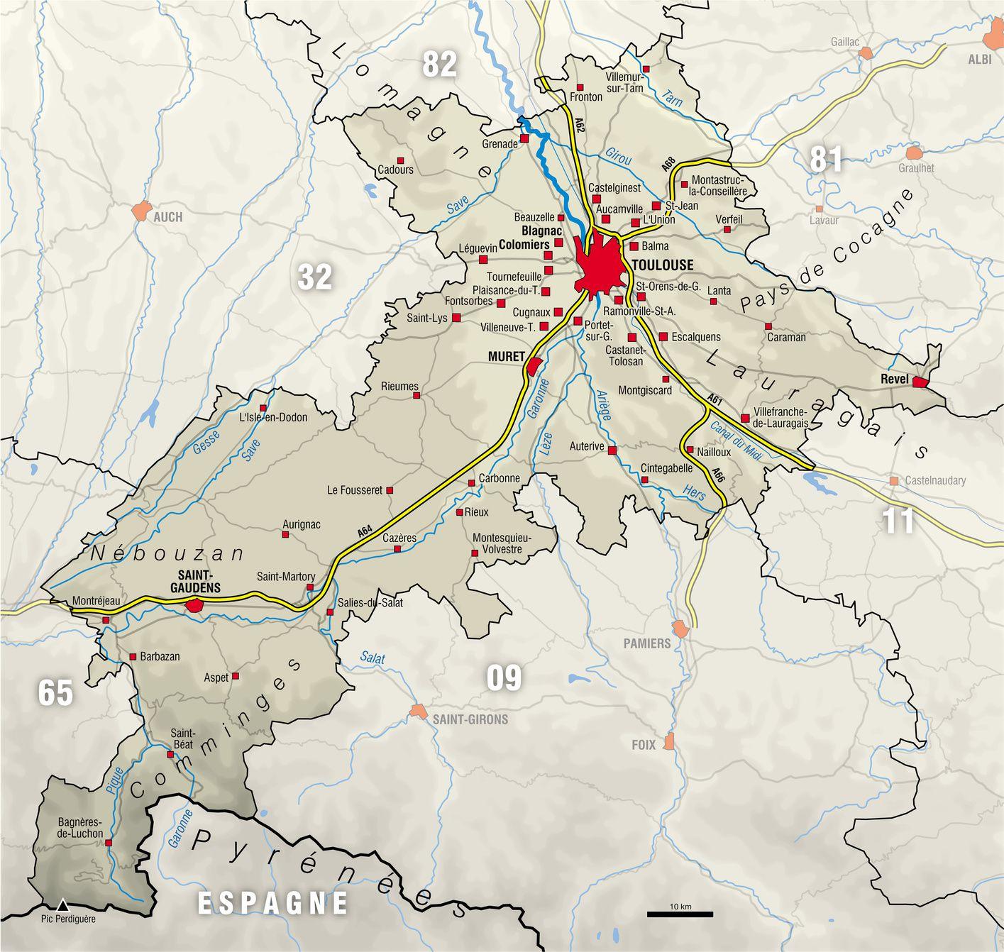 Carte de la Haute-Garonne