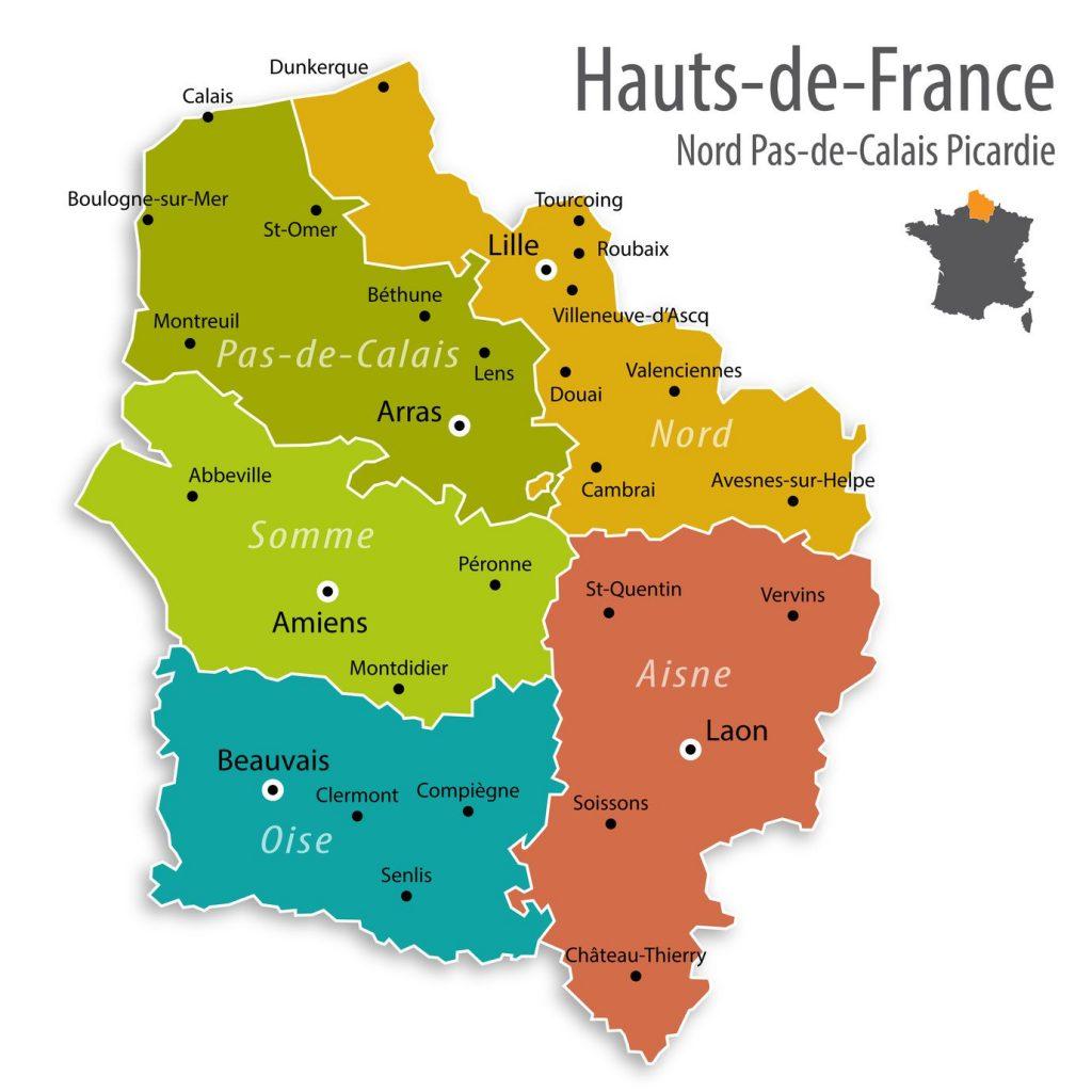 Carte des villes des Hauts-de-France
