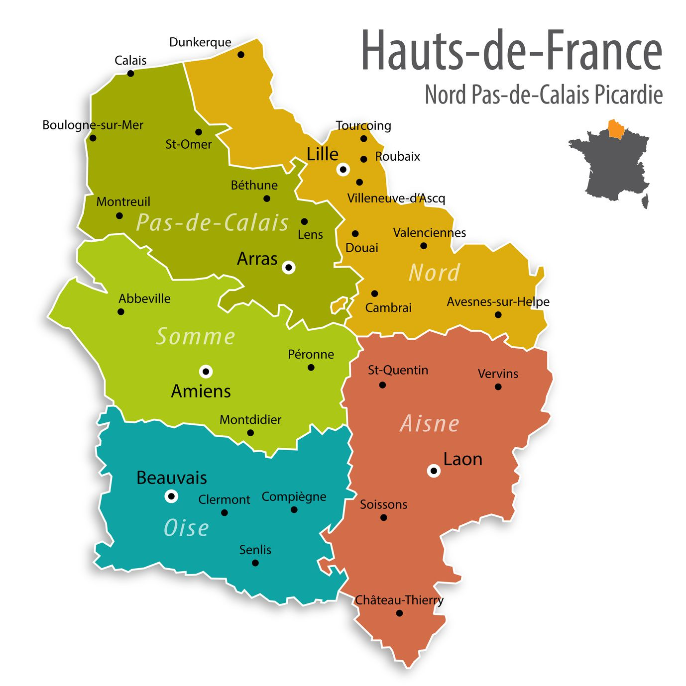 Carte des hauts de france hauts de france carte des for Haute de france