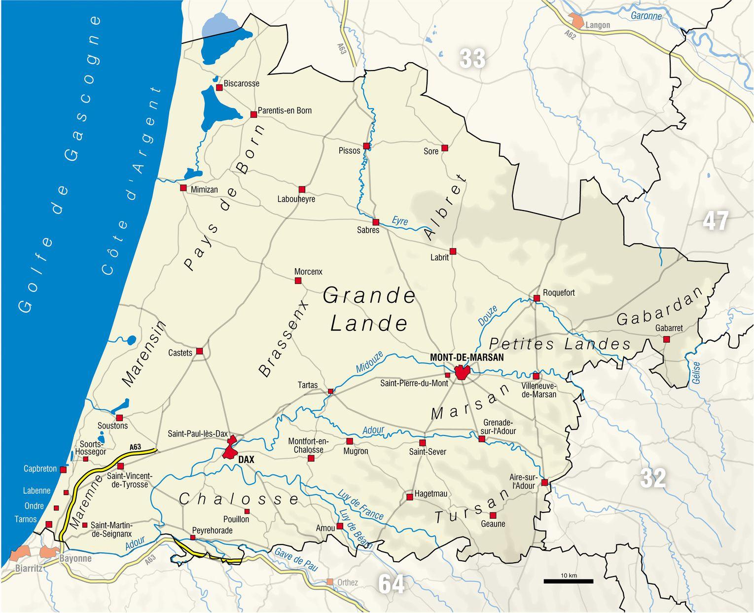 carte des landes avec villes Carte des Landes   Landes carte des villes, communes, politique