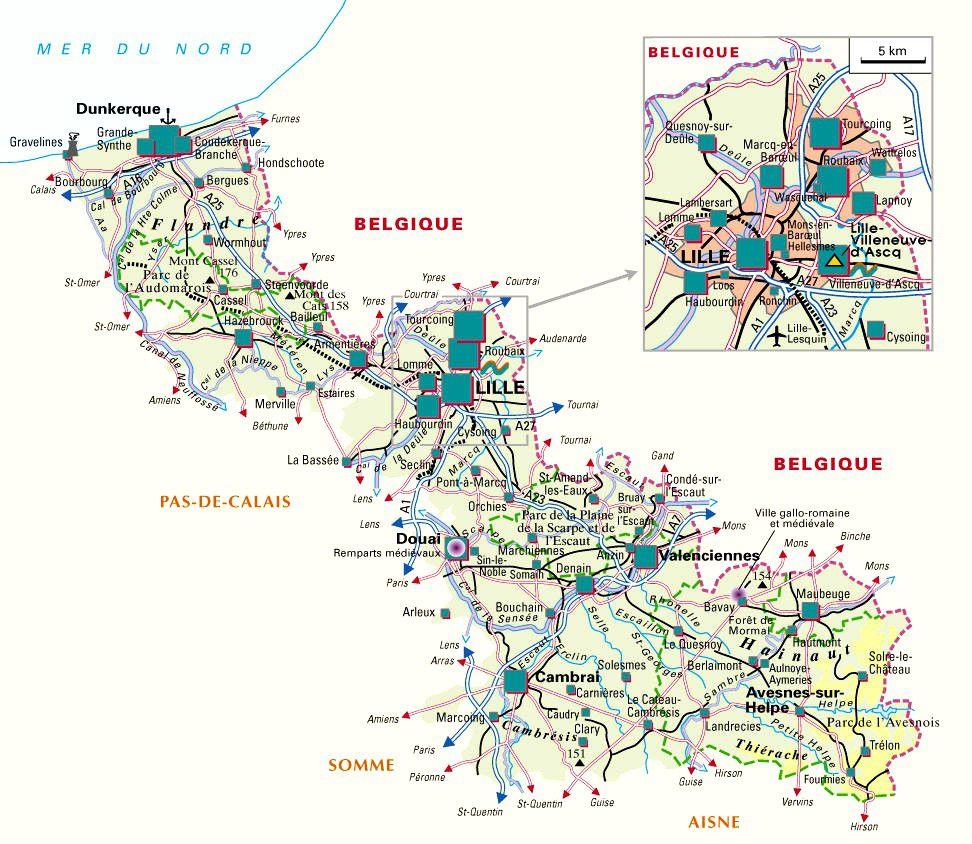 Carte du Nord - politique