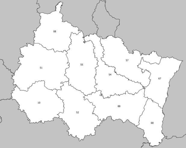 Carte avec les numéros des départements de la région Grand Est