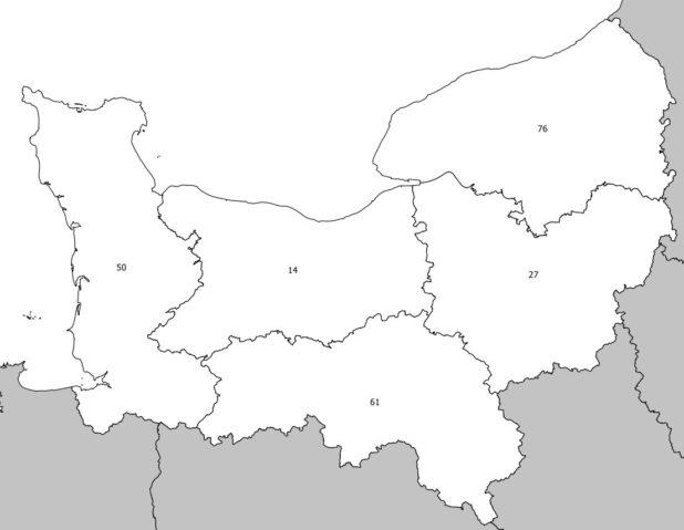Carte avec les numéros des départements de Normandie
