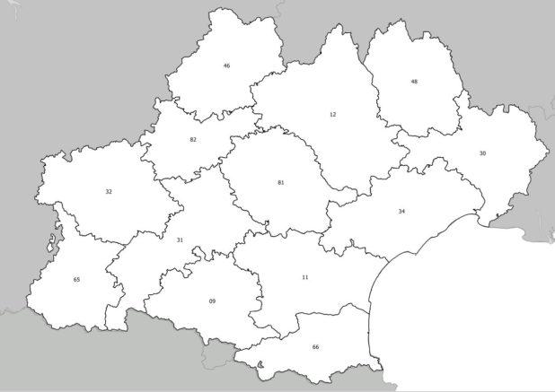 Carte avec numéros des départements de l'Occitanie