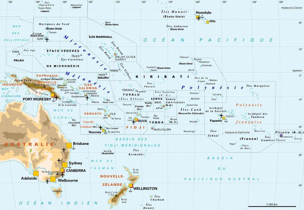 Carte de l'Océanie - Politique