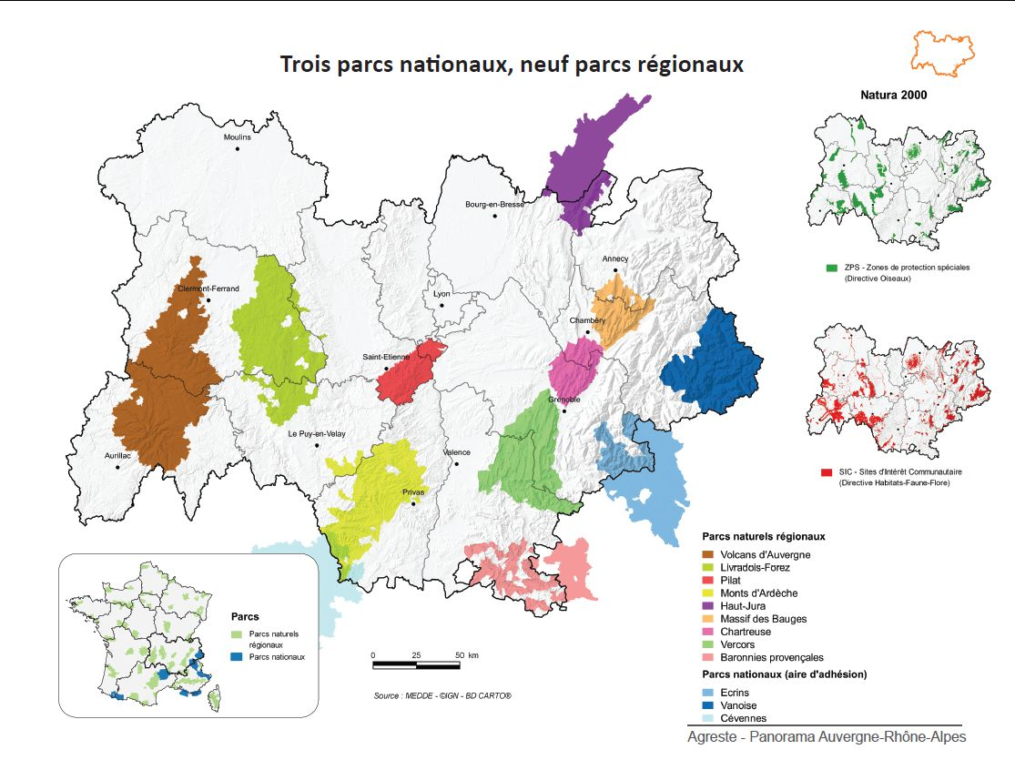 Carte des parcs nationaux Auvergne-Rhône-Alpes