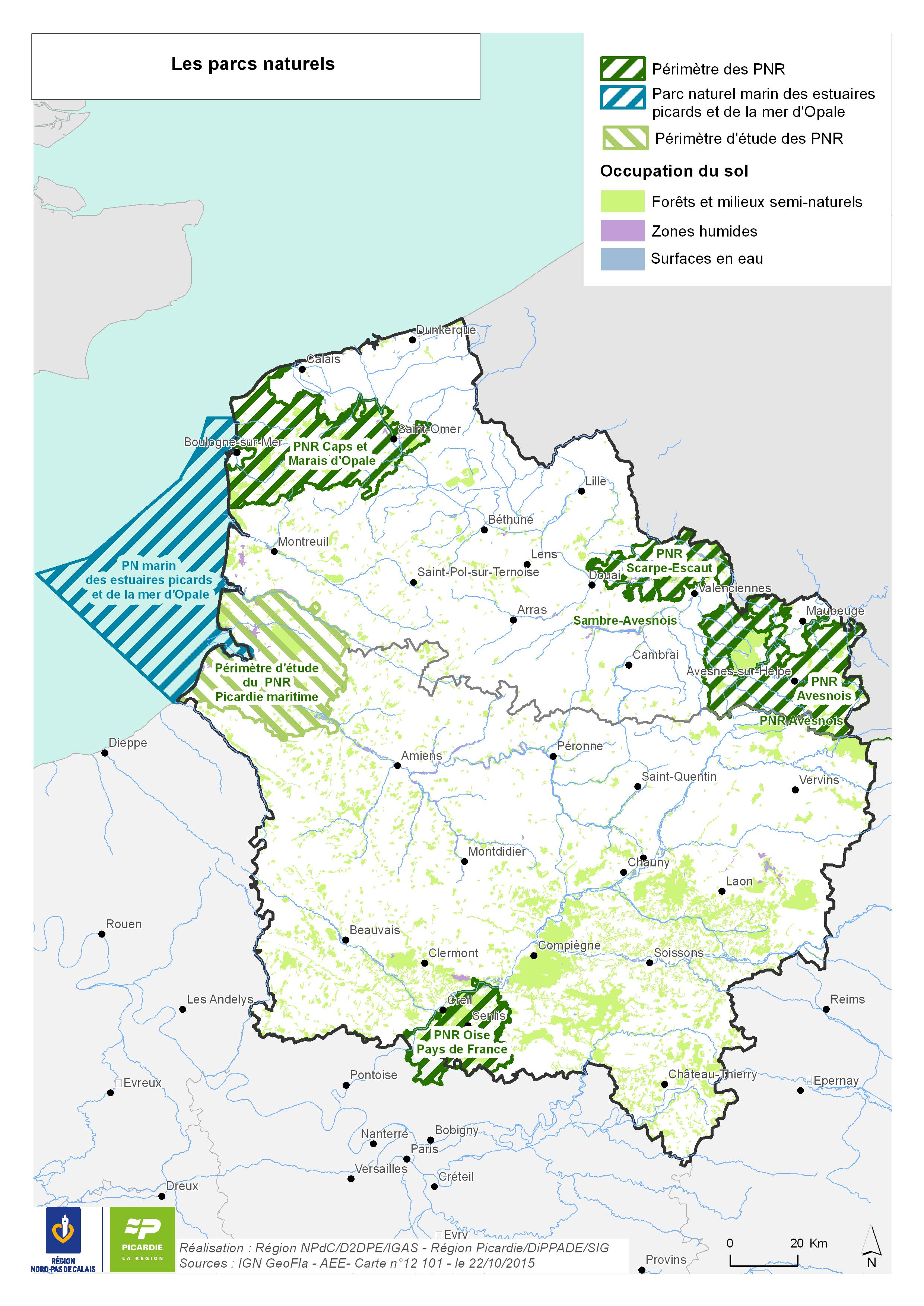 Carte des parcs naturels Hauts-de-France