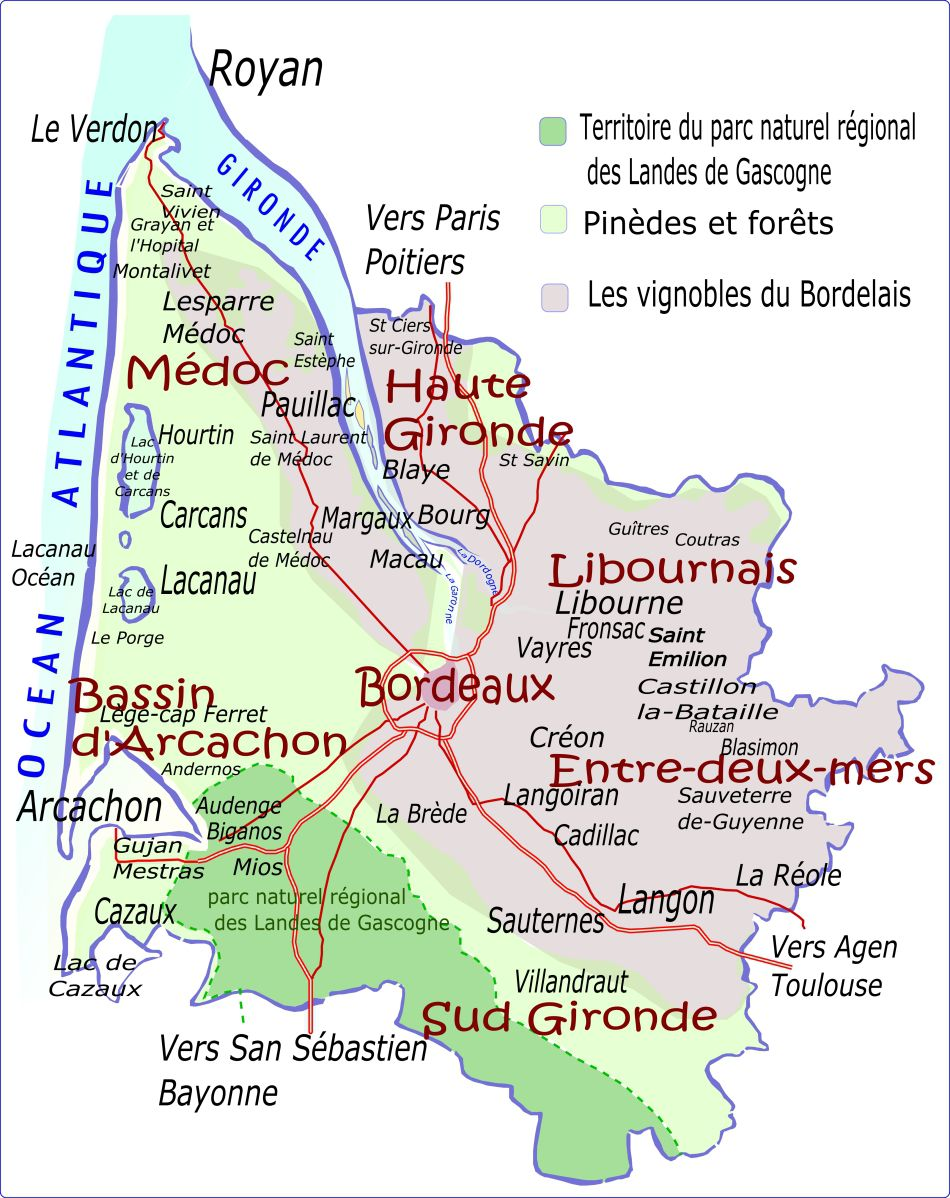 Carte des parcs naturels et vignobles de la Gironde