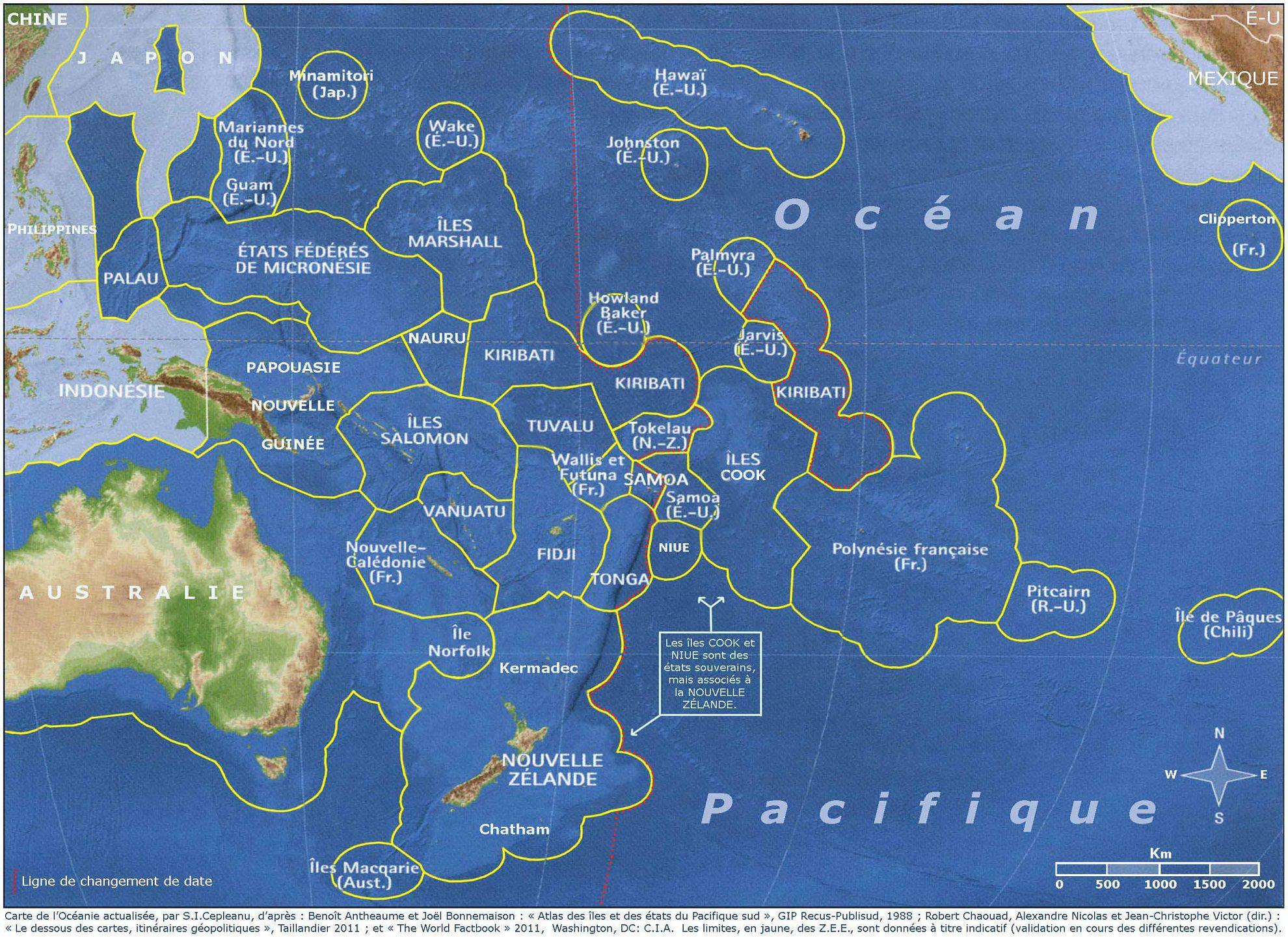 Carte des pays de l'Océanie