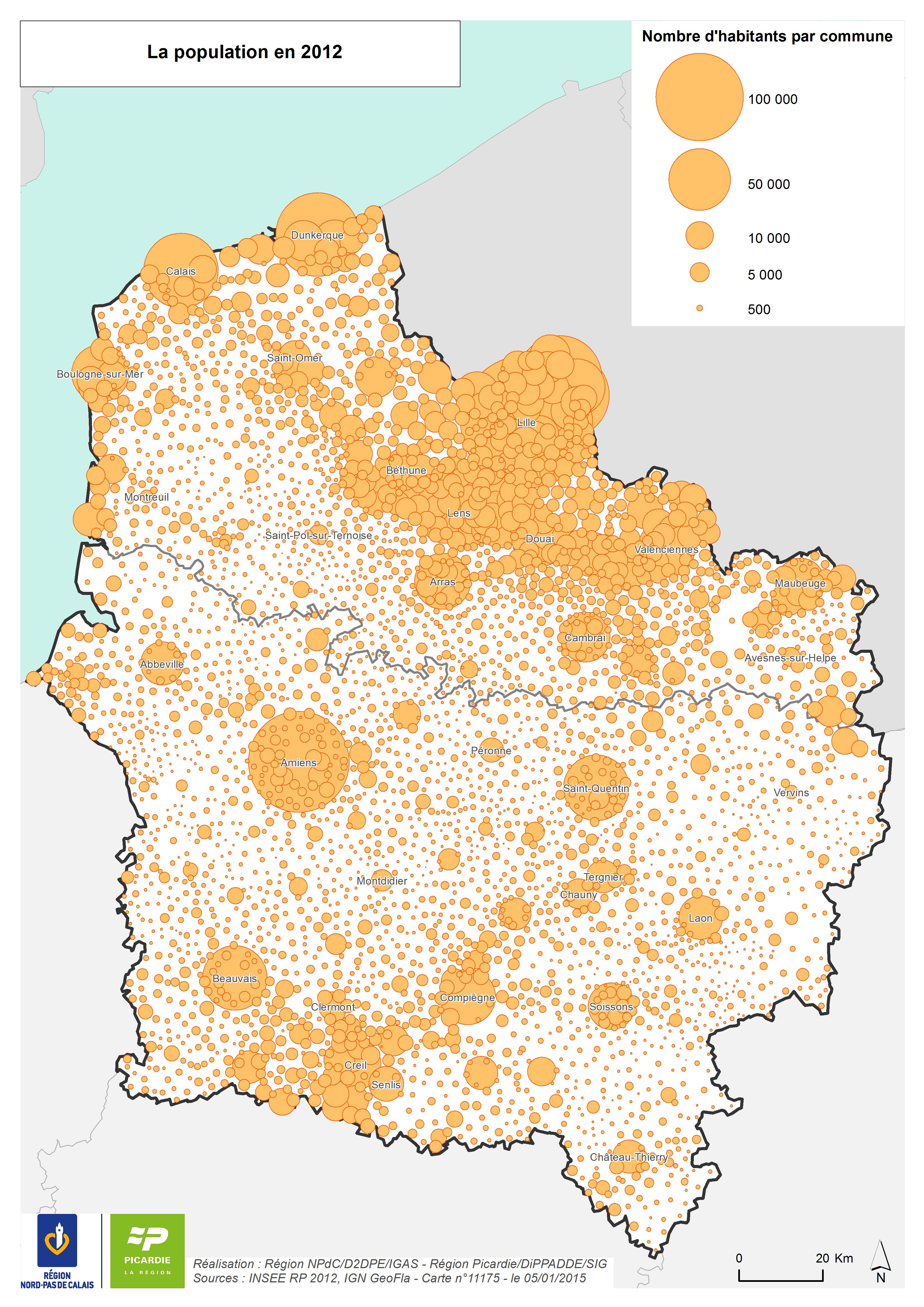 Carte de la population Hauts-de-France