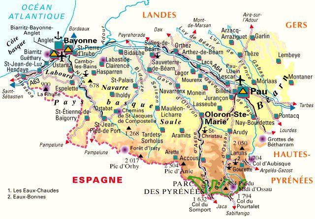 Carte des pyr n es atlantiques plusieurs cartes du - Office du tourisme pyrenees atlantiques ...