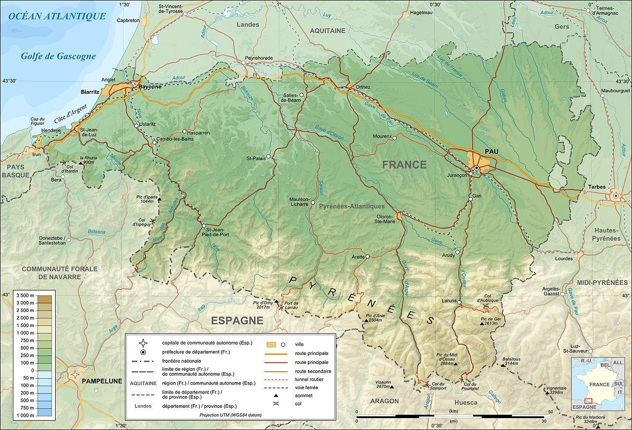 Carte des Pyrénées-Atlantiques