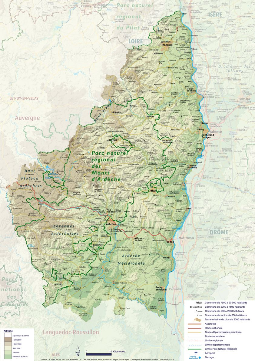 Carte du relief de l'Ardèche