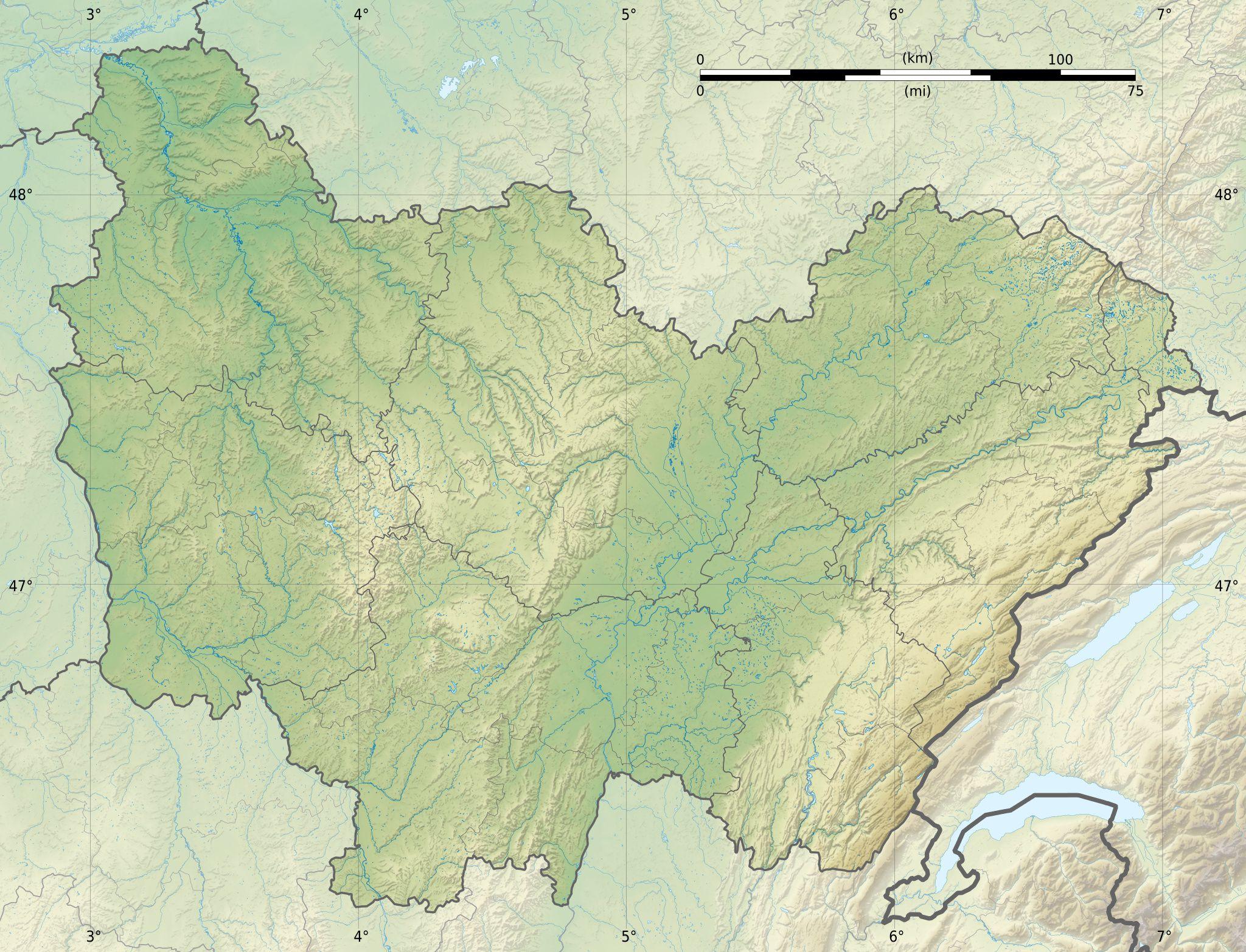Carte du relief de Bourgogne-Franche-Comté