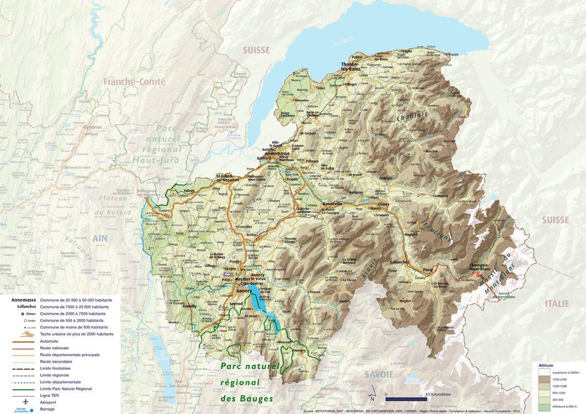 Carte du relief Haute-Savoie