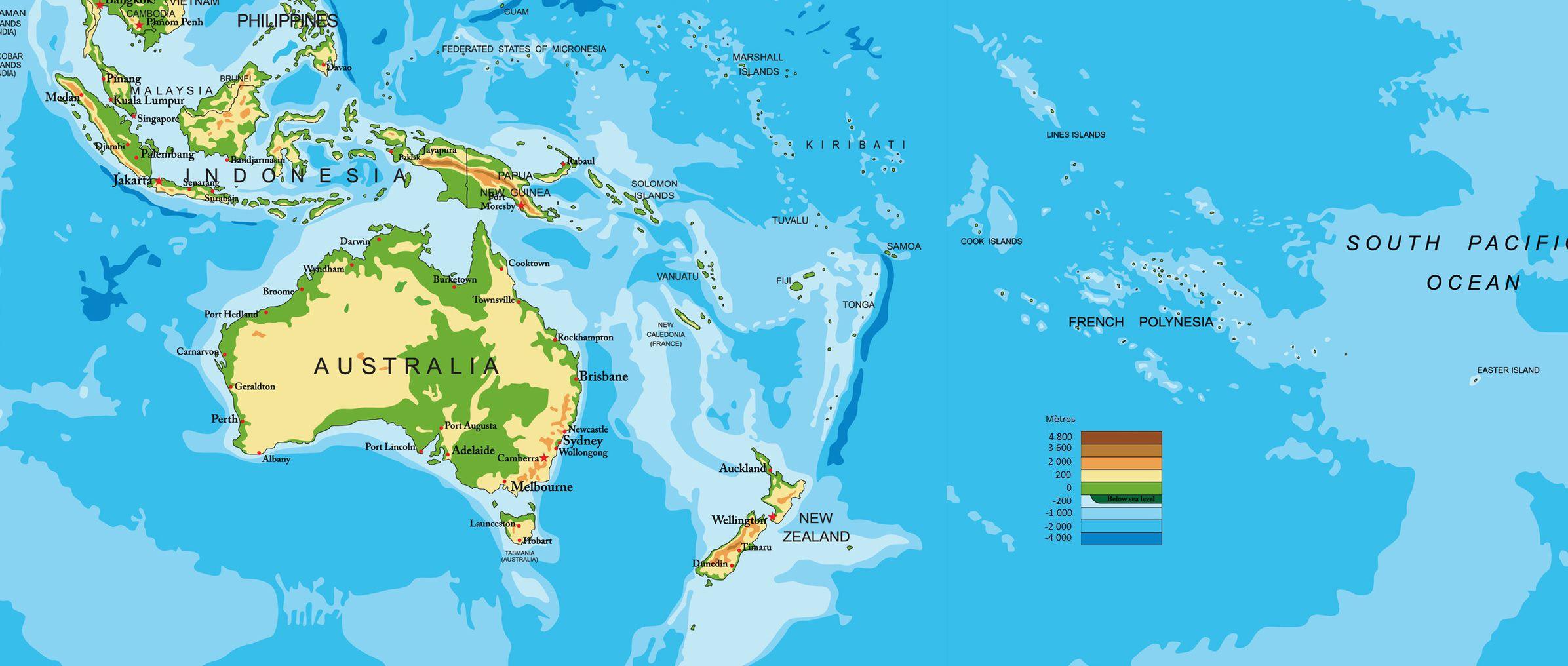 Carte du relief de l'Océanie