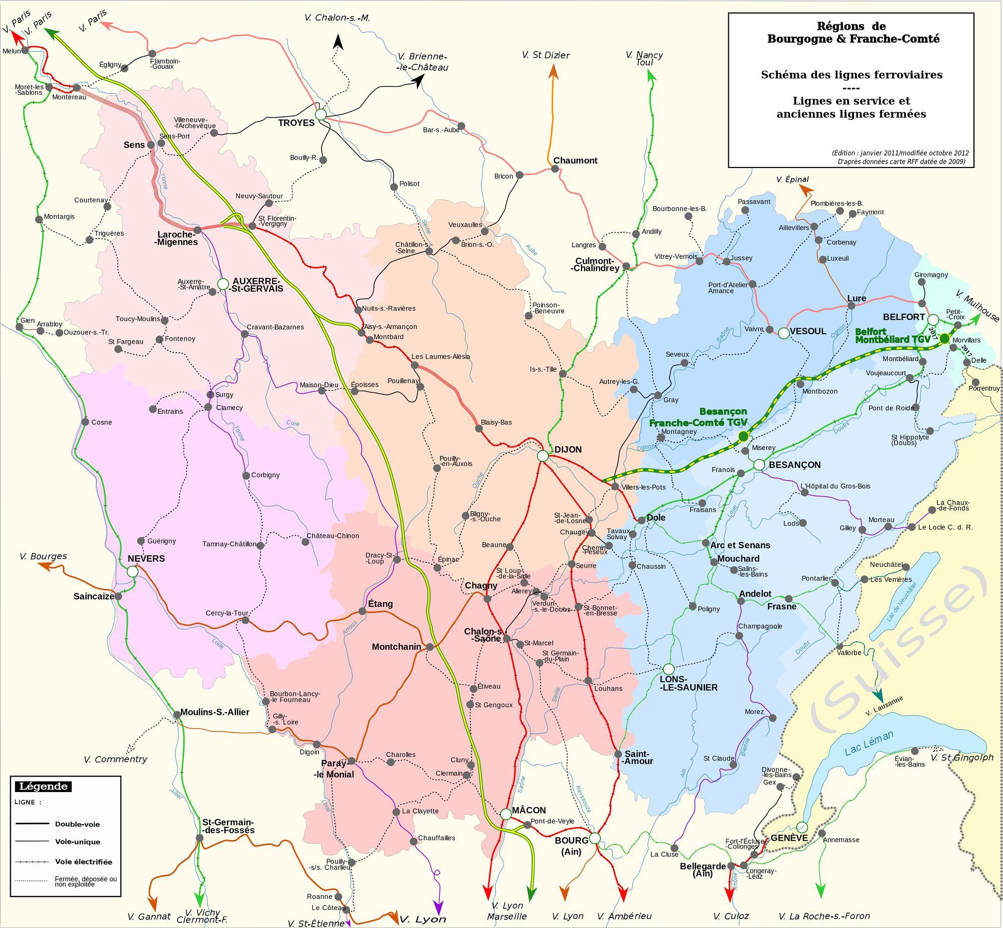 Carte du réseau ferroviaire de Bourgogne-Franche-Comté