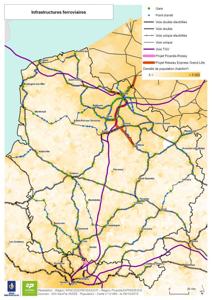 Carte du réseau ferroviaire Hauts-de-France
