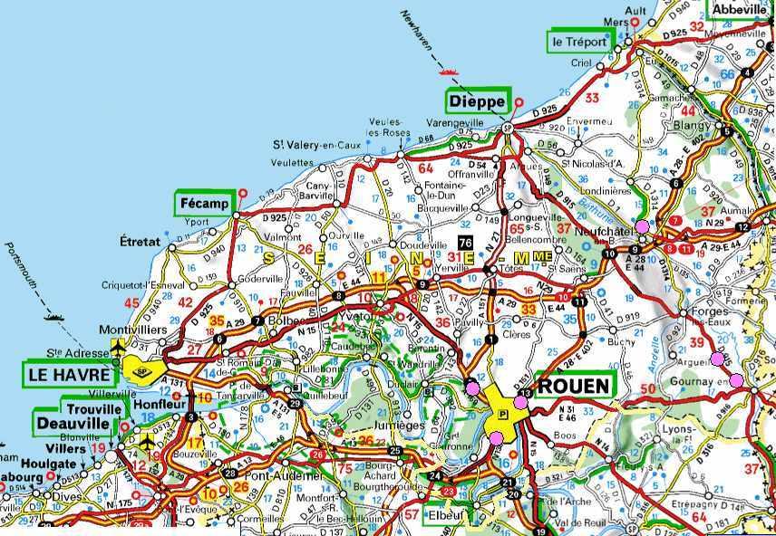 Carte des routes de la Seine-Maritime