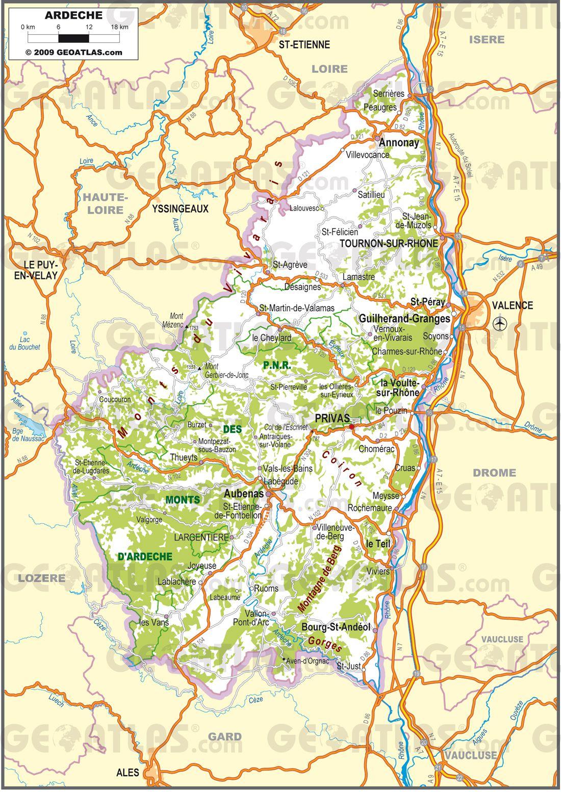 Carte routière de l'Ardèche