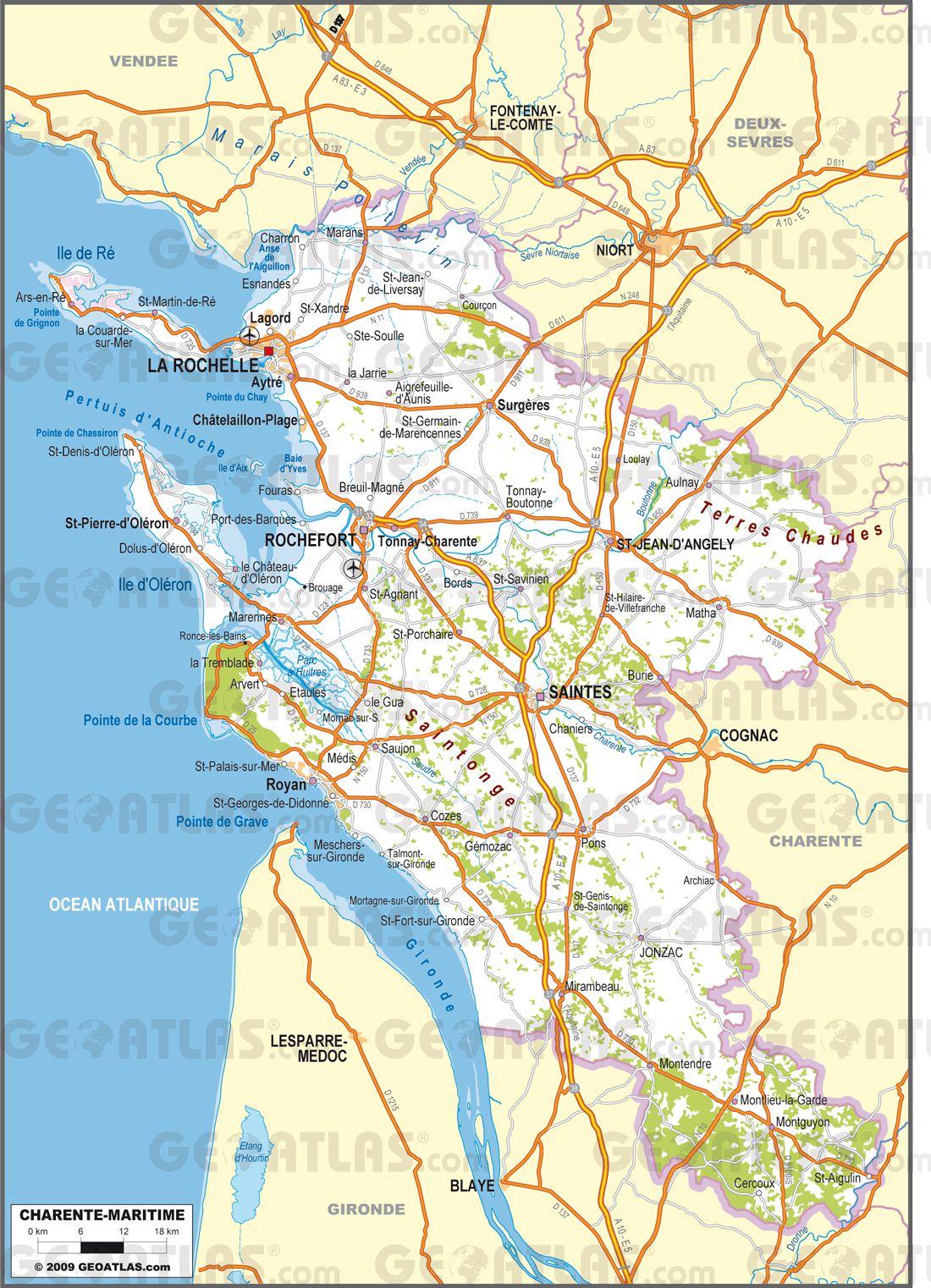 Carte routière de Charente-Maritime