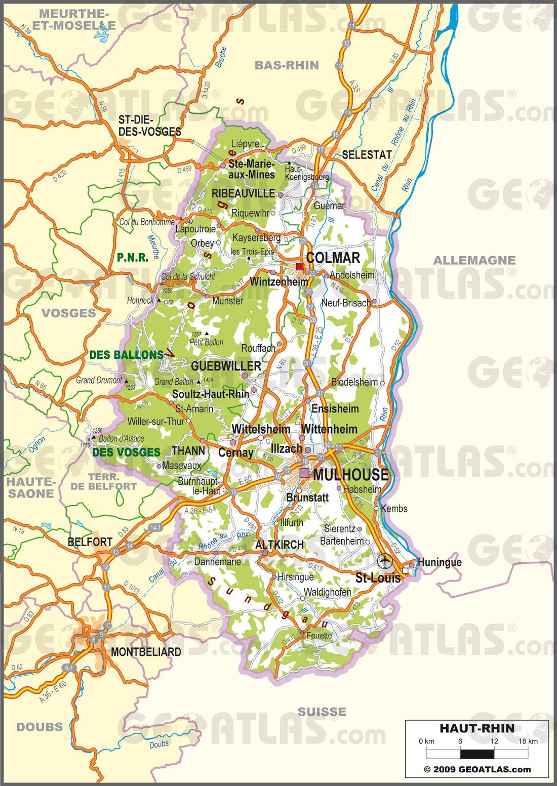 Carte Alsace Sundgau.Carte Du Haut Rhin Haut Rhin Carte Du Departement 68