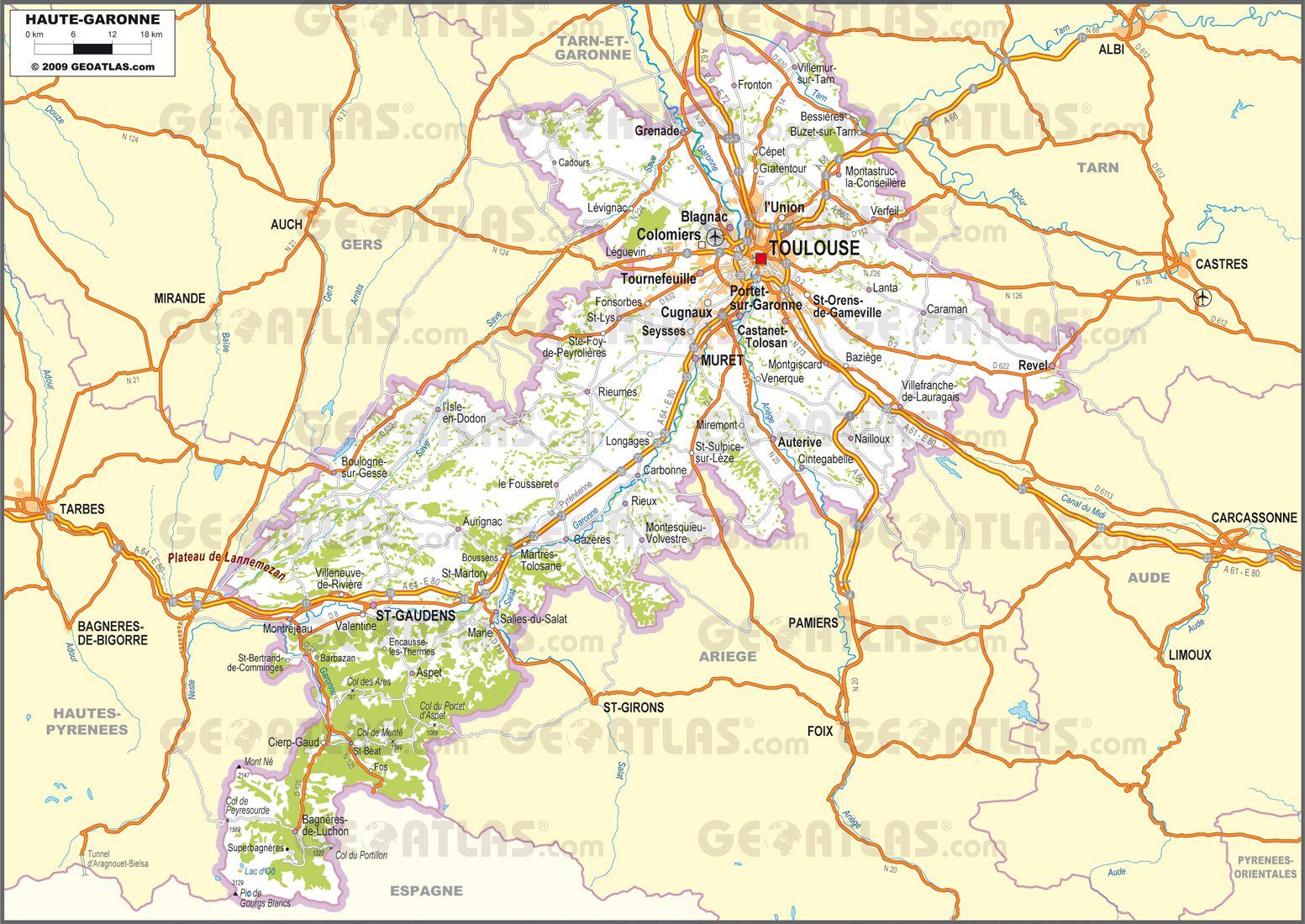 Carte routière de la Haute-Garonne