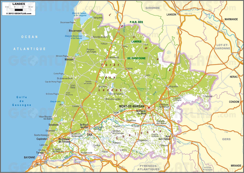 Carte des Landes   Landes carte des villes, communes, politique