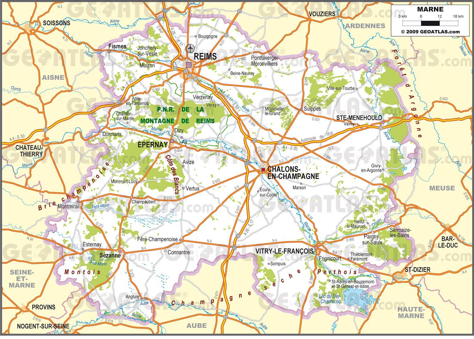 Carte routière de la Marne