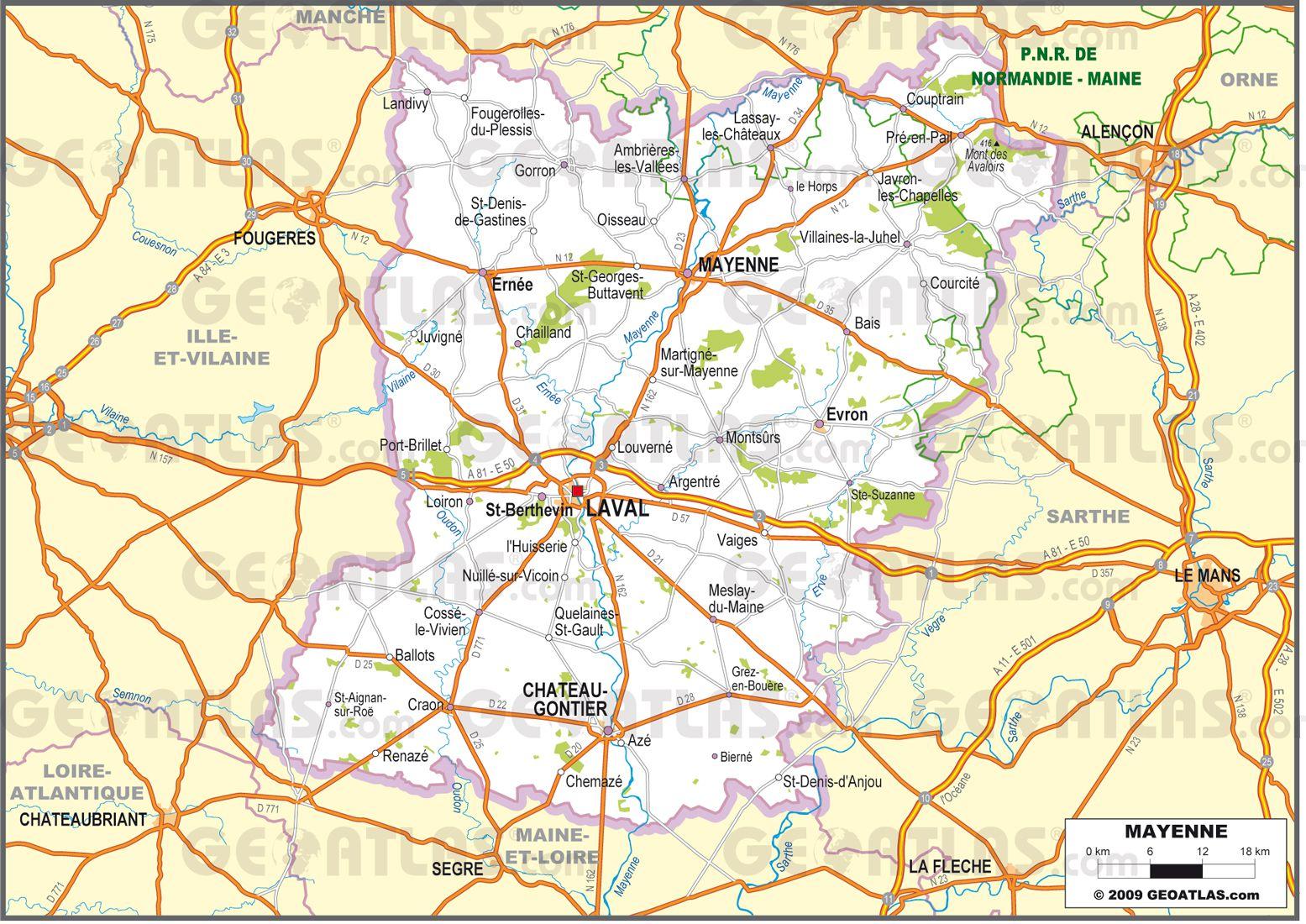 Carte routière de la Mayenne