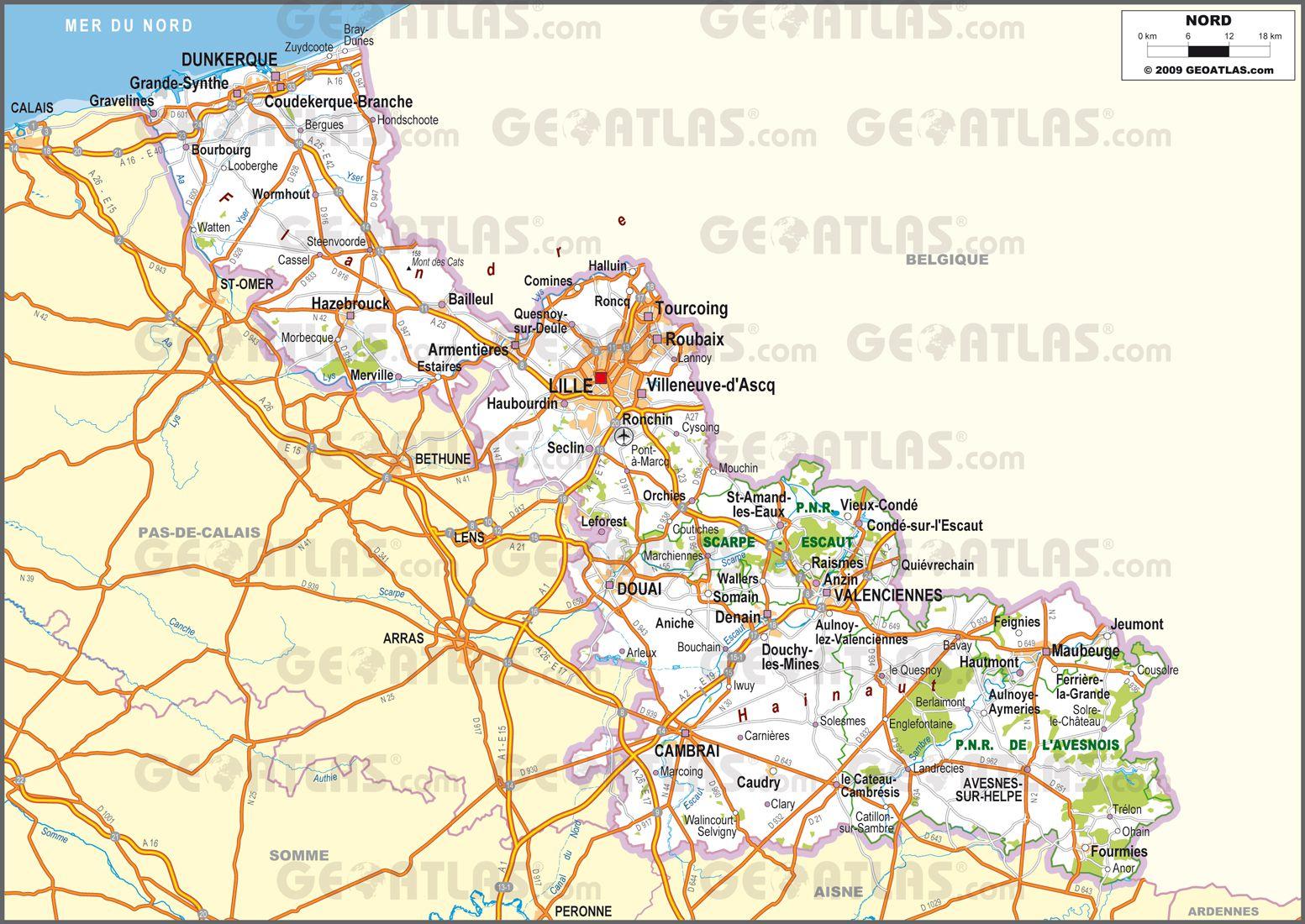 Carte routière du département Nord