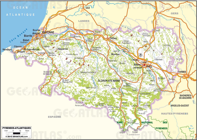Carte des Pyrénées Atlantiques   Plusieurs cartes du département (64)