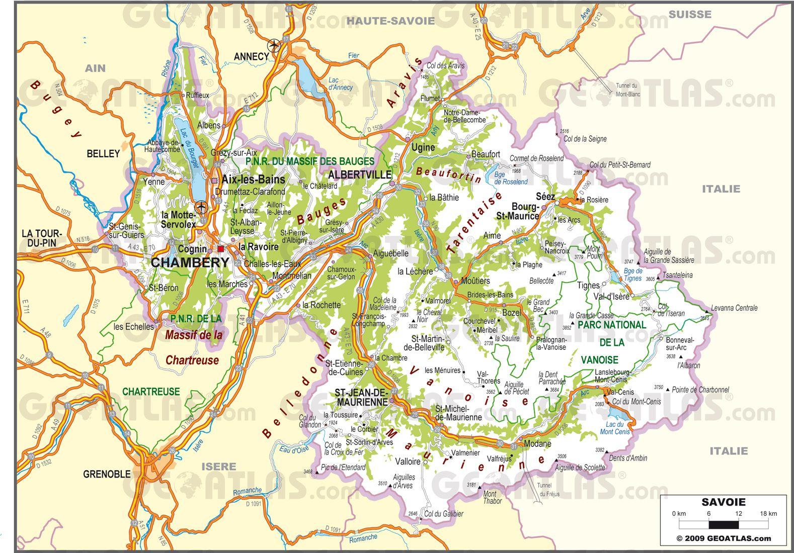 Carte routière de la Savoie
