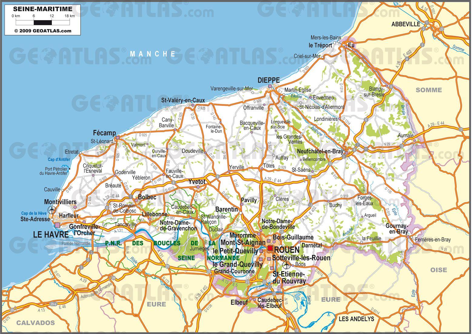 Carte routière de la Seine-Maritime