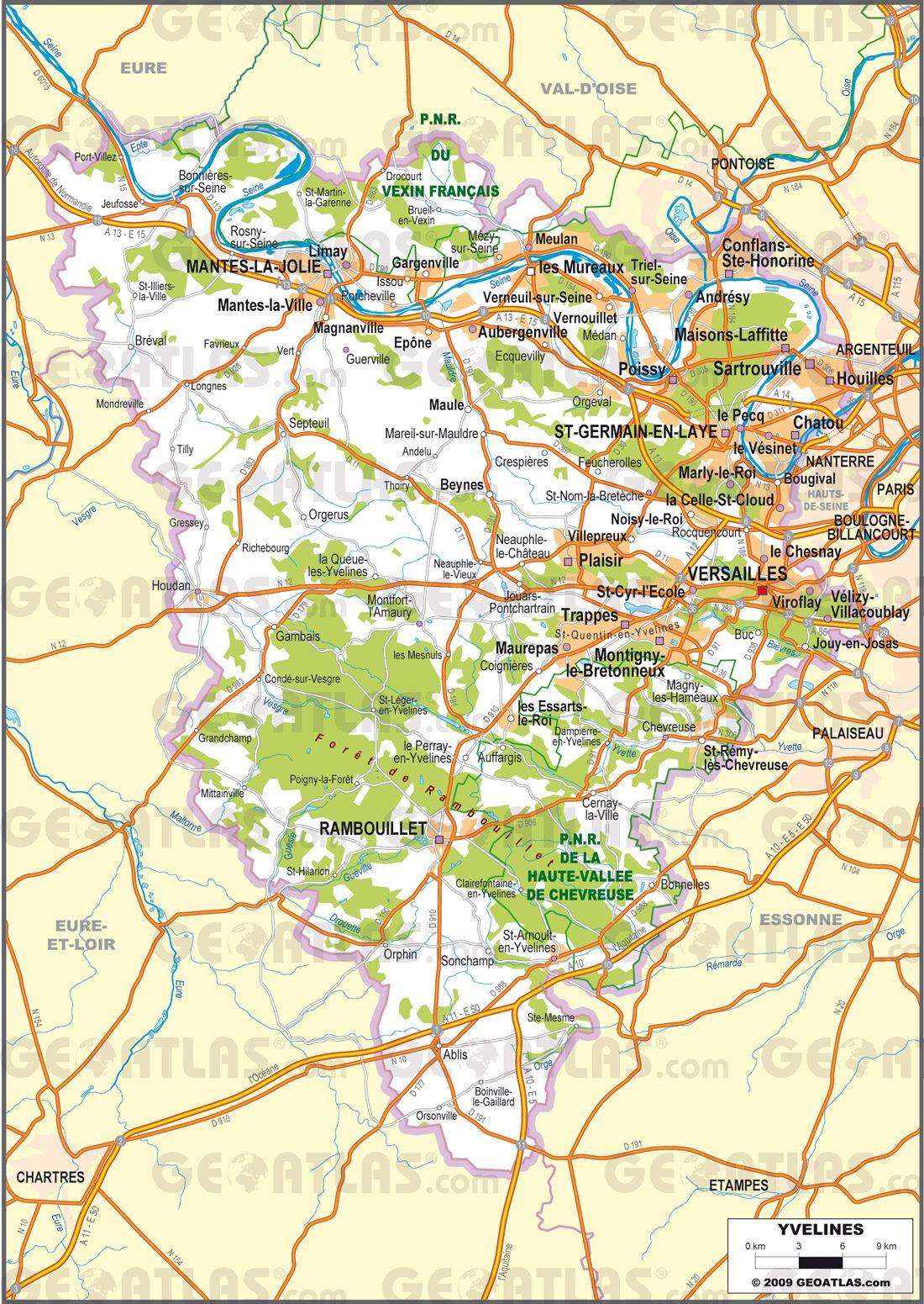 Carte routière des Yvelines