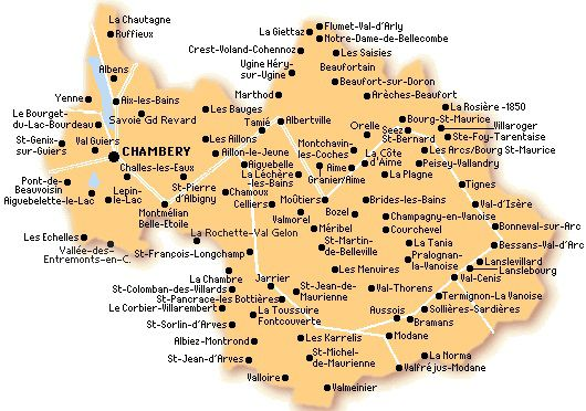 Carte simple de la Savoie