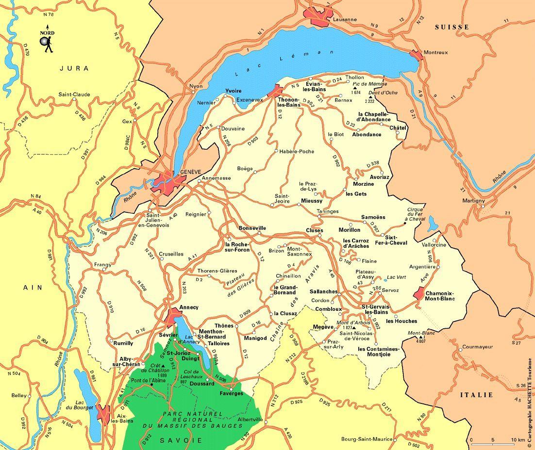 Carte de la Haute Savoie   Haute Savoie carte des villes, relief