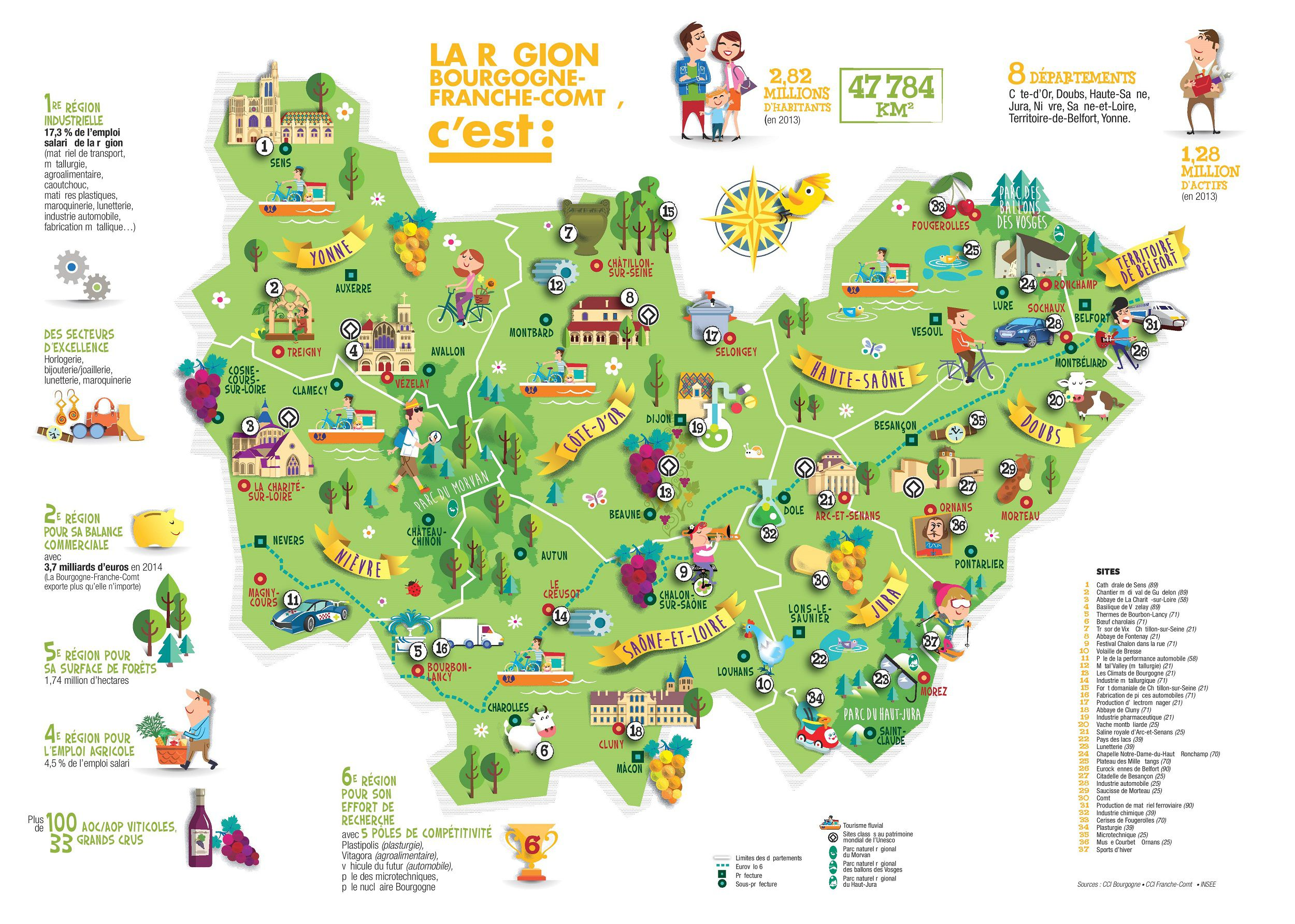Carte de bourgogne franche comt bourgogne franche comt for Site touristique france