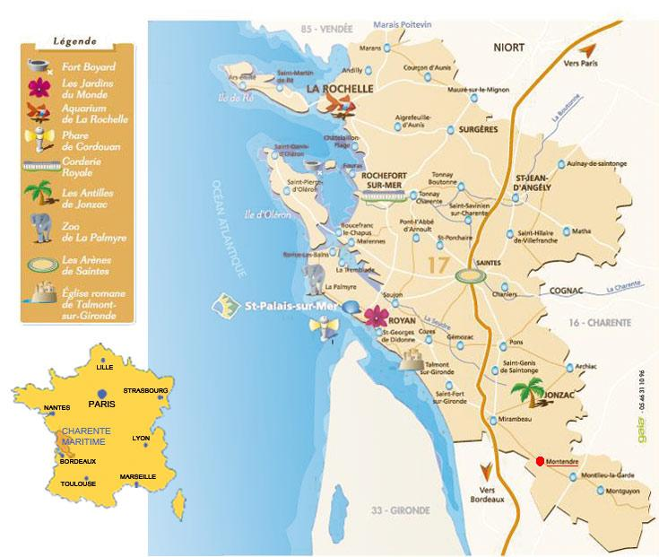 Carte de la charente maritime charente maritime carte - Office du tourisme saint palais sur mer ...