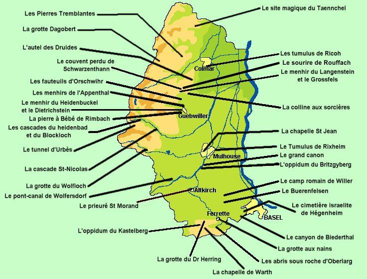 Carte des sites touristiques du Haut-Rhin