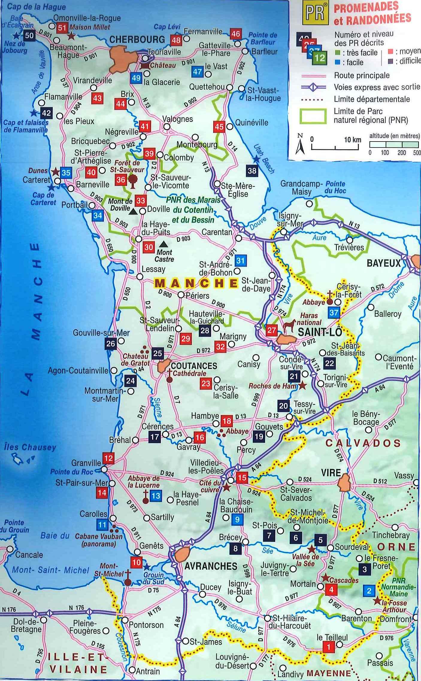 Carte de la manche manche carte des villes communes for Site touristique france