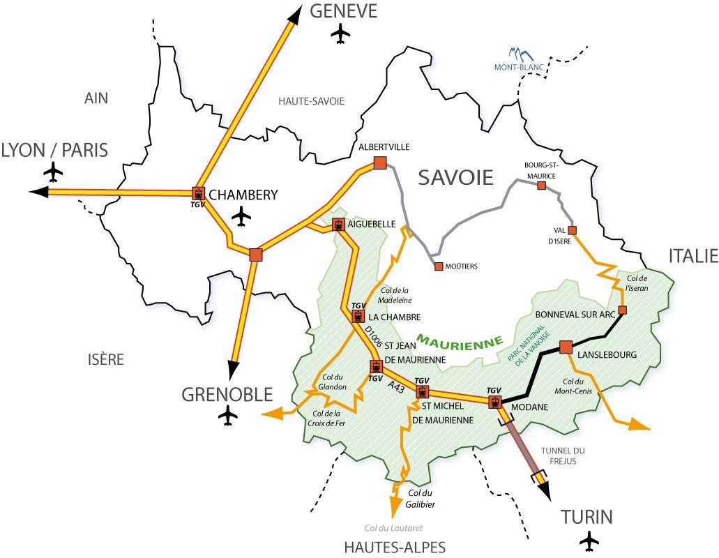 Carte des transports de la Savoie