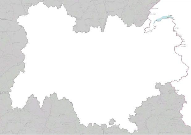 Carte vierge de l'Auvergne-Rhône-Alpes