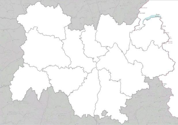 Carte vierge des départements d'Auvergne-Rhône-Alpes